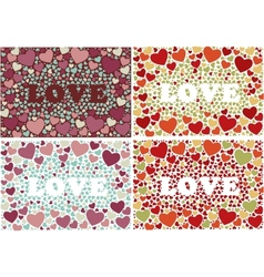 The word love in background with hearts Set of 4 vector image vector image