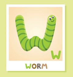 w is for worm letter w worm cute vector image vector image