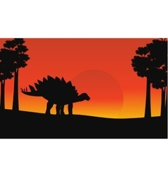 At sunrise dinosaur stegosaurus scenery vector