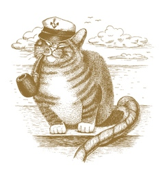 Cat captain drawn by hand vector image vector image