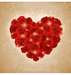 heart of rose for Valentines day vector image