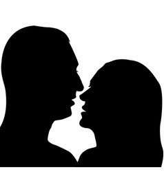 Man and woman preparing for a kiss vector
