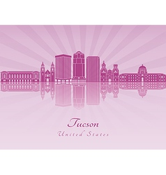 Tucson V2 skyline in purple radiant orchid vector image vector image