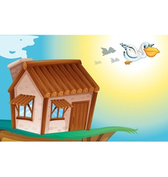 wooden house and birds vector image vector image