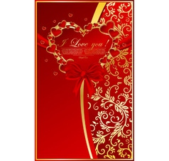 abstract floral background with red heart vector image