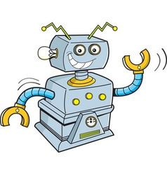 Cartoon smiling robot vector image