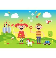 Children in wonderland vector image