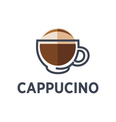 coffee cappuccino drink cup flat icon for vector image