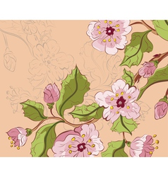 Colored Sketch of Sakura Branch2 vector image