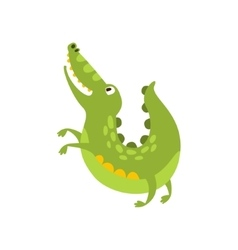 Crocodile Jumping Like Dog Flat Cartoon Green vector image vector image