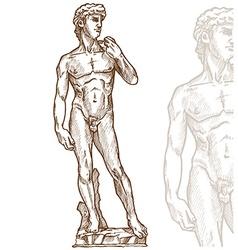 david statue of Michelangelo hand drawn vector image