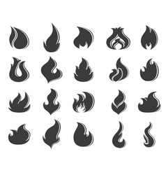 fire flames set on white background vector image vector image
