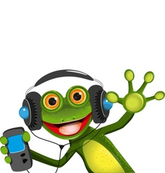 Frog In Headphones vector image