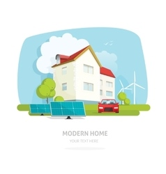 Home on nature landscape flat modern solar wind vector image vector image