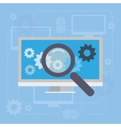 Magnifying glass search network concept vector image