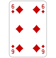 Poker playing card 6 diamond vector image vector image