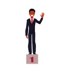 black african american businessman on pedestal vector image