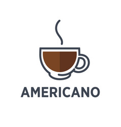 coffee americano drink steam cup flat cafe vector image vector image