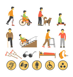 disabled people and necessary equipments with vector image