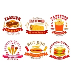 Fast food menu icons labels emblems set vector image vector image