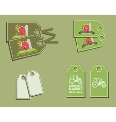 Set of organic labels - stickers for natural farm vector image
