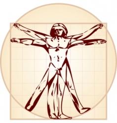 Vitruvian man stylized version vector image vector image