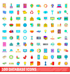 100 database icons set cartoon style vector