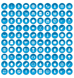 100 lunch icons set blue vector