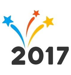 2017 Fireworks Flat Icon vector