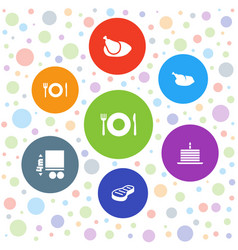 7 plate icons vector