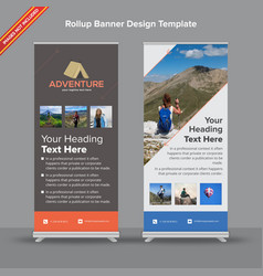 Abstract grey and orange rollup banner vector