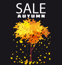 autumn sale template background tree with falling vector image