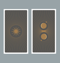 back tarot card decorated with stars sun and vector image