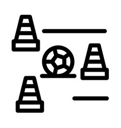 Ball and training cones icon outline vector