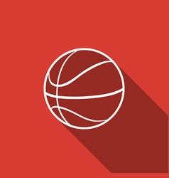 Basketball ball icon isolated with long shadow vector