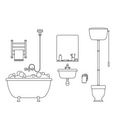 Bathroom line interior vector