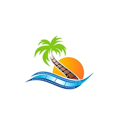 Beach movie abstract logo vector