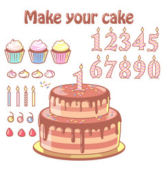 Birthday cake constructor set vector