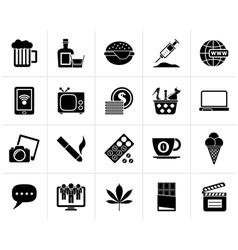 Black different types of Addictions icons vector image vector image