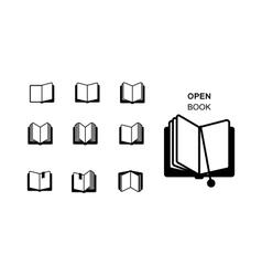 black silhouettes open book vector image