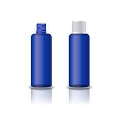 Blue clear cosmetic round bottle with grooved lid vector