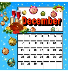 calendar for December turkey wine candles vector image