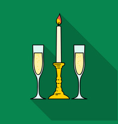Candle between glasses with champagne icon in flat vector