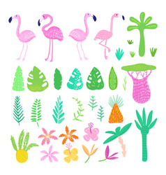 Childish summer doodle with cute flamingos vector