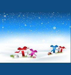 Christmas snowy landscape with gifts nestled in vector