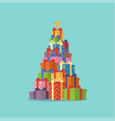 christmas tree gift boxes vector image