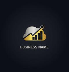 cloud graph arrow progress gold logo vector image