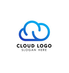 cloud tech logo design in line art style cloud vector image