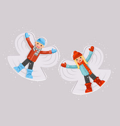Cute girl boy making snow angel childhood game vector