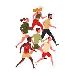 cute men and women dressed in sportswear jogging vector image